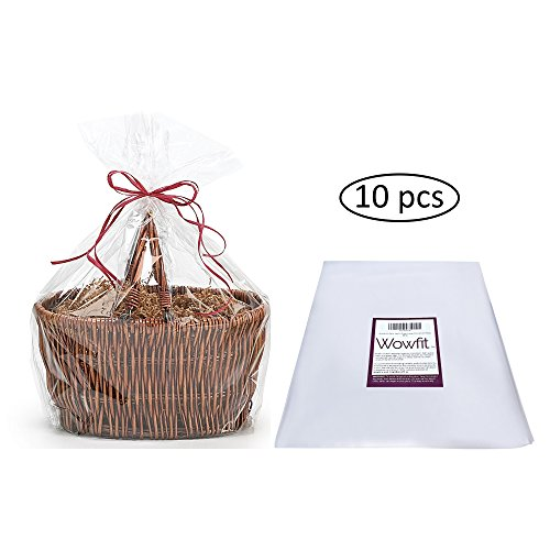 10-Piece Set of 24x30 Clear Cellophane Bags Perfect for Gift Baskets, Presents, Weddings, Bridal/Baby Showers and More (1.2 MIL, Flat, No -