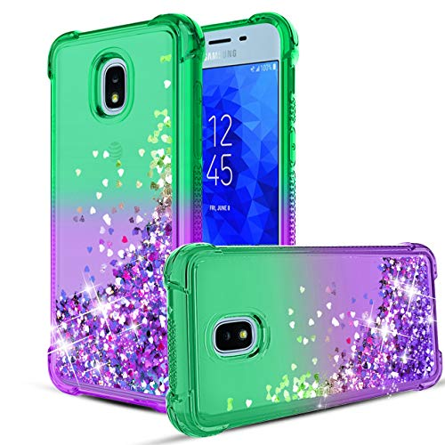 - Compatible with Samsung Galaxy J7 2018/Galaxy J7 Refine/J7 Crown/J7 Aero/ J7 Eon/J7 Aura/ J7 V 2nd Gen/J7 Star/J7 TOP Case, Flowing Liquid Bling Glitter Sparkle TPU Bumper Shockproof Case.Mint/Purple