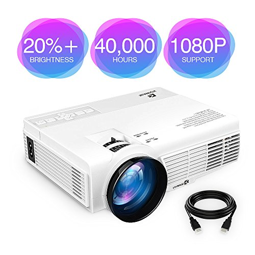 "ViviMage C3 20%+Brightness Mini LED Projector 1080P HD Supported 170"" Display Outdoor Movie Home Theater Video Projector, Support HDMI, Amazon Fire TV Stick, PS4, USB (HD) (1080P HD)"