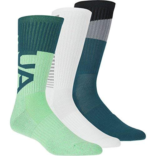 (Under Armour Phenom 3.0 Crew Sock - 3-Pack - Men's Arena Green/Asst, 10.0-13.0)