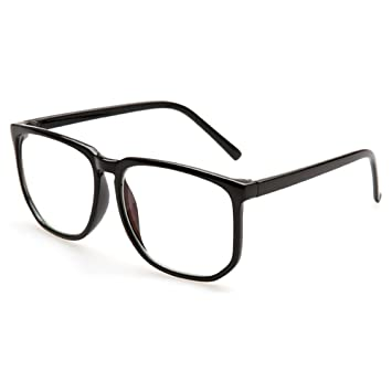 3dff0d1c330 Vintage Oversiezd Blue Light Blocking Glasses for Mid Big Face Square Frame  Glasses Nerd Black