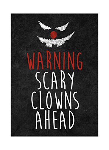 Warning Scary Clowns Ahead Print Creepy Clown Face Picture Halloween Seasonal Decoration Sign