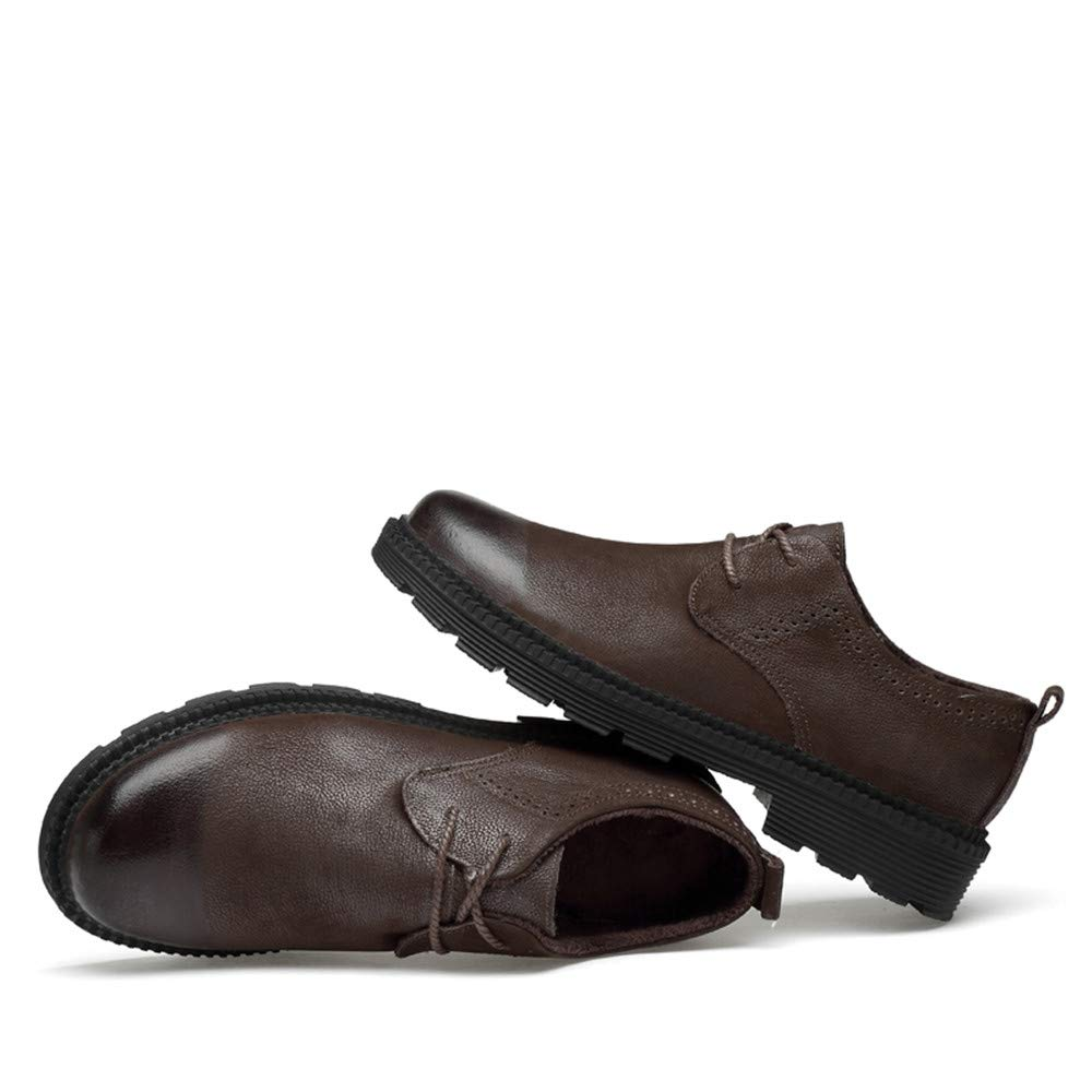 Sunny&Baby Männer Business Rundkopf Oxford Casual Leder Arbeitskleidung Rundkopf Business Dicker Boden Regelmäßige Baumwolle Warm Formale Schuhe Abriebfeste Braun 9020fd