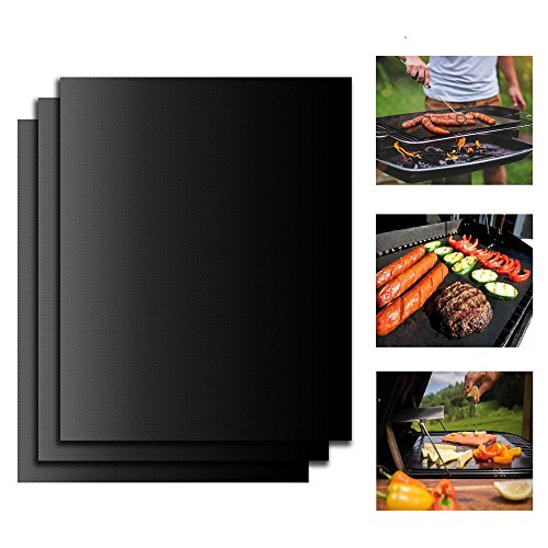 Coosa Reusable BBQ Grill Mat Non Stick Oven Liner Teflon Cooking Mats - Perfect for Baking on Gas, Charcoal, Oven and Electric Grills - Reusable, Durable, Heat Resistant Barbecue Sheets (5)