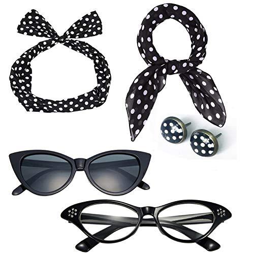 50's Costume Accessories Set Chiffon Scarf Cat Eye Glasses Bandana Tie Headband and Earrings (OneSize, Dot) ()