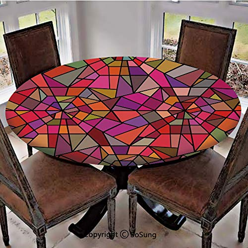 Elastic Edged Polyester Fitted Table Cover,Mosaic Style Stained Glass Fractal Colorful Geometric Triangle Forms Artful Image,Fits up 56