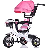Child Indoor Outdoor Small Tricycle Bicycle Boy's Bike Girl's Bike for 6 Months -6 Years Old Baby Three Wheels Trolley Awning,Solid Plastic Wheel(Pink,White)