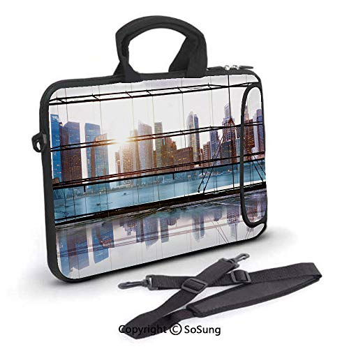 15 inch Laptop Case,Scenery of Modern Futuristic Metropolitan City with Skyscrapers Neoprene Laptop Shoulder Bag Sleeve Case with Handle and Carrying & External Side Pocket,for Netbook/MacBook Air Pro