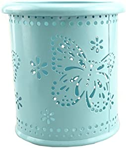yueton Hollow Butterfly Pattern Metal Pen Pencil Pot Cup Holder Desk Container Organizer
