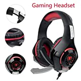 SUPERSUN Gaming Headset, Gaming Headphones Surround Sound 3.5mm Audio Jack and USB Port with LED lights for PS4 Xbox One PC (Red)