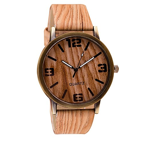 joyliveCY Fashion Casual Dress Pu Leather Lovers Men Watches Wood Pattern Wristwatch For Male Gifts5#