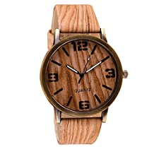 2016 High Quality Classical Wooden Watch Women Wristwatches Vintage Style Men Dress Watch Pu Leather Quartz Watch 6#