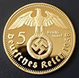 WW2 Gold Plated 1938 swastika 5 Reichsmark Commemorative Coin Medal