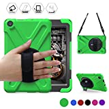 All-New Fire HD 8(2017 Released, 7th Generation Only) BRAECN Three Layer Armor Defender Full Body Protective Case Cover/Hand strap/shoulder strap For Amazon Kindle Fire HD8 (Green)