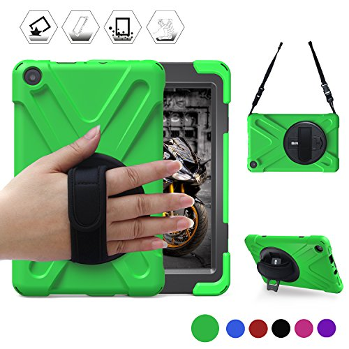 All-New Fire HD 8(2017 Released, 7th Generation Only)BRAECN Three Layer Armor Defender Full Body Protective Case Cover/Hand strap/shoulder strap For Amazon Kindle Fire HD8 (Green)