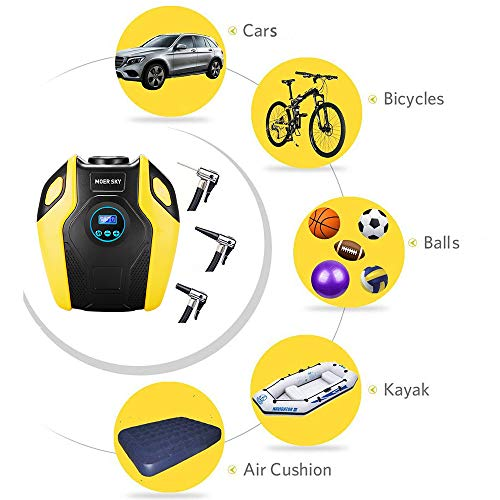 Tire Inflator, Electric Air Compressor Pump, Portable with Digital up 150PSI with LED Lighting Cable for Car, Ball and