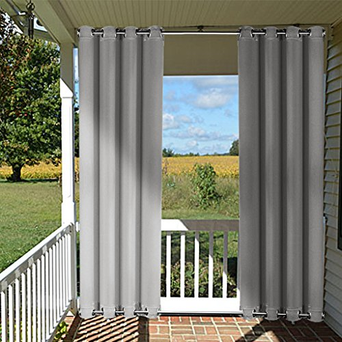 Wind Break Outdoor Curtain Panel - NICETOWN Three Pass Microfiber Thermal Insulated Blackout Outdoor Indoor Window Curtain / Drape with Top and Bottom Ring (Single Piece,52 x 95 Inch Long, (Gray Rectangular Ring)