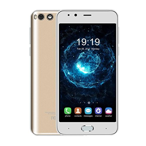 Tiean New 5.0 Inch Ultrathin Android4.4 Octa-Core Smartphone Dual Camera 2G Wifi GPS GSM Bluetooth Dual SIM 1G + 8G Mobile Phone (Gold)