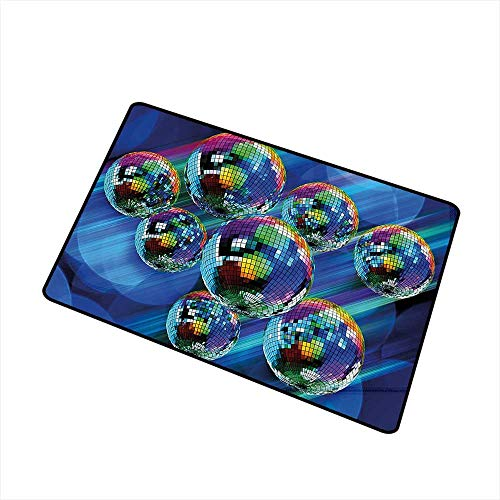 Jbgzzm Pet Door mat 70s Party Decorations Colorful Funky Vibrant Disco Balls Abstract Night Club Dancing Theme W35 xL47 Indoor Outdoor, Waterproof, Easy Clean Multicolor]()