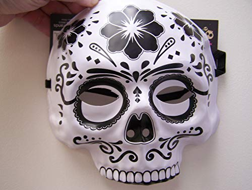 Dia de Los Muertos Day of The Dead Sugar Skull Halloween Mask White, -