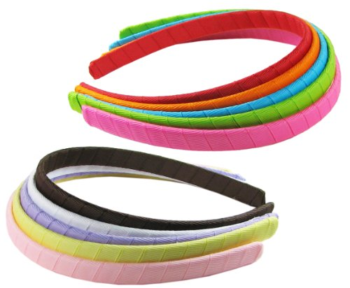 HipGirl Girls Grosgrain Ribbon Wrapped Headbands, Multi Color, 1/2 Inch, 10 Count (Girls Headband)