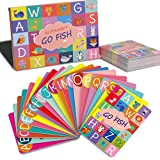 Upgraded Alphabet Go Fish Classic Card Game, ABC Uppercase Lowercase Letters Learning Animal Picture Recognition Card Game for Kids – 52 Cards