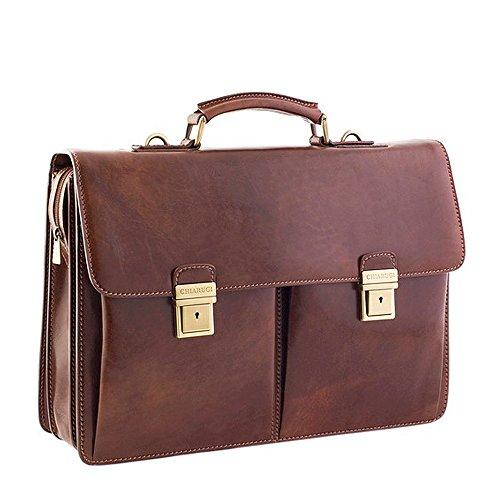 Chiarugi 2 Tasche aus italienischem Leder Aktentasche - Braun