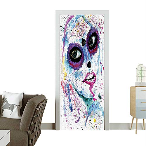 Homesonne 3D Photo Door Murals Grunge Halloween Lady with Sugar Skull Make Up Creepy Dead Gothic Woman Artsy Easy to Clean and applyW31 x H79 INCH -