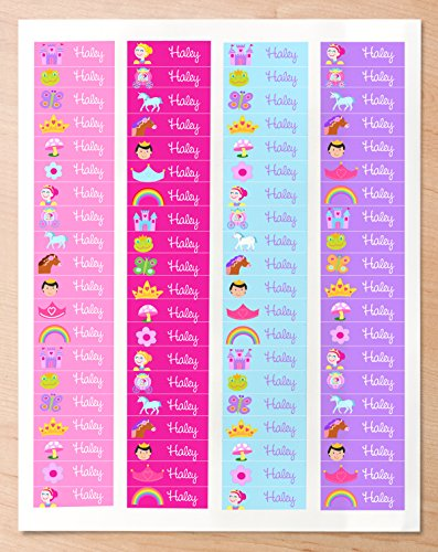 (Princess Personalized Mini Waterproof Waterproof Peel and Stick Labels for School and Camp, 80 Custom)