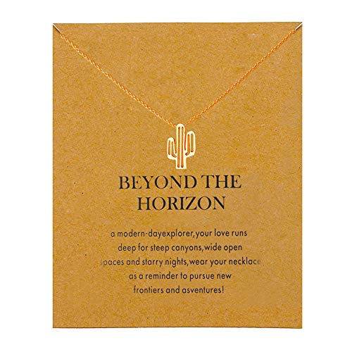 QXFQJT Tree Mountain Necklace Friendship Sister Elephant Good Luck Pendant Necklace with Meaning Card (Cactus-Gold) -