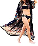 Sanifer Women's Floral Printed Boho Maxi Beach Cover up Kimono Plus Size Bathing Suit Cover up (Black, One Size)