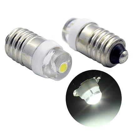 Ruiandsion E10 Bombilla LED DC 3V 0.5W 6000K Blanco 200LM Bombilla LED para linterna antorcha