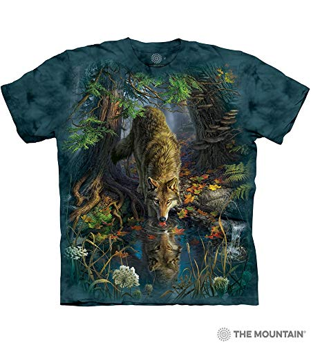 The Mountain Enchanted Wolf Pool Adult T-Shirt, Blue, Medium