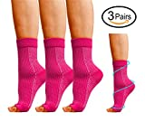 Ankle Compression Socks Womens, 3 Pairs Plantar Fasciitis Socks with Arch Support, Foot Compression Sleeves for Flat Feet Ankle Heel Support Insertional Achilles Tendonitis, Relieve Arch Pain.