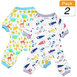 Scheppend 2-Pack Pet Clothes Puppy Cute Pajamas Dogs Cotton Rompers Cats Jumpsuits Cosy Apparel Dog Shirt Small Canine Costumes Corsetry, Plane & Giraffe M