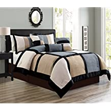 "7 Piece Grey / Beige / Black Bedding Oversize (88""X 86"") Comforter Set Micro Suede Bed In A Bag (Double) FULL Size Bedding"