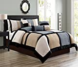 7 Piece Grey/Beige/Black Bedding Oversize (94''X 90'') Patchwork Comforter Set Micro Suede Bed In A Bag QUEEN Size Bedding