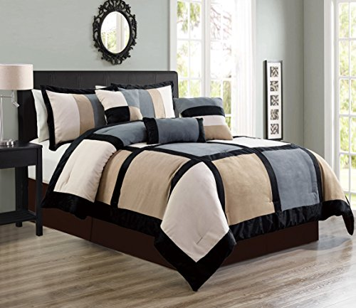 """7 Piece Grey/Beige/Black Bedding Oversize (106""""X 94"""") Patchwork Comforter Set Micro Suede Bed In A Bag (California) CAL KING Size Bedding"""