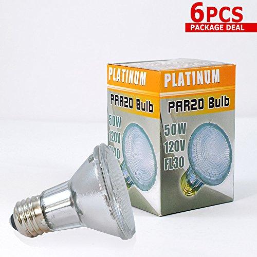 PLATINUM 50w 120v PAR20 FL30 halogen bulb x 6 pieces (20 Fl Lamp)