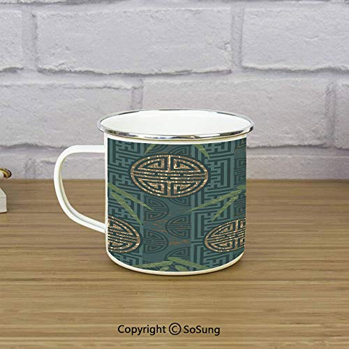 Bamboo Travel Enamel Mug,Authentic Asian Composition with Oriental Motifs Leaves Eastern Elements Decorative,11 oz Practical Cup for Kitchen, Campfire, Home, TravelGreen Tan Slate Blue