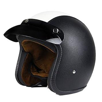 XL Woljay 3//4 Offener Sturzhelm Leder Helmet Motorrad-Helm Jet-Helm Scooter-Helm Vespa-Helm Halbhelme Motorrad Helm Flat Schwarz Wei/ß