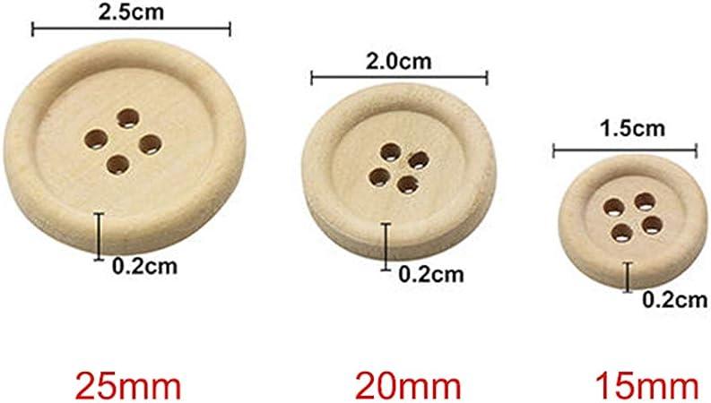 25 x En bois Boutons fait main Art Crafts Décorations Scrapbooking Trous 2