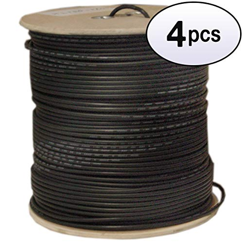 (GOWOS (4 Pack) Bulk RG58/AU Coaxial Cable, Black, 20 AWG, Copper Stranded Center Conductor, Braided Shield, Spool, 1000 Feet)
