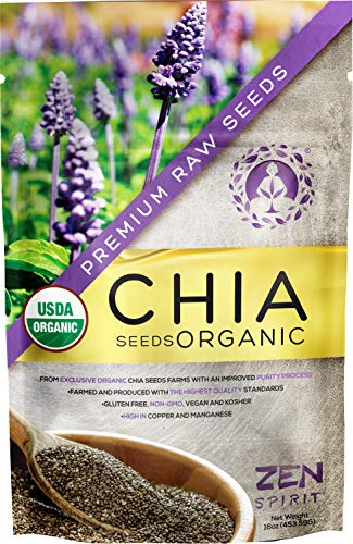 Chia Seeds Raw (Black) - Organic Premium Grade Superfood - Rich in Minerals - USDA & Vegan Certified - 1 LB (16oz) - Perfect for Smoothies, Baking, Desserts & Breakfast.