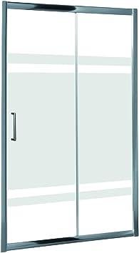 Mampara de Ducha MODULAR Frontal Sencilla - 1 Hoja FIJA + 1 Hoja CORREDERA. Con Tratamiento EASY-CLEAN. (100 cm, SERIGRAFIADA): Amazon.es: Bricolaje y herramientas