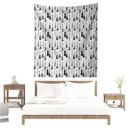 Music Tapestry Hippie Monochrome Strings Various Types Acoustic and Electronic Guitar Cello Violin Tapestry for Home Decor 60W x 80L INCH Black White -