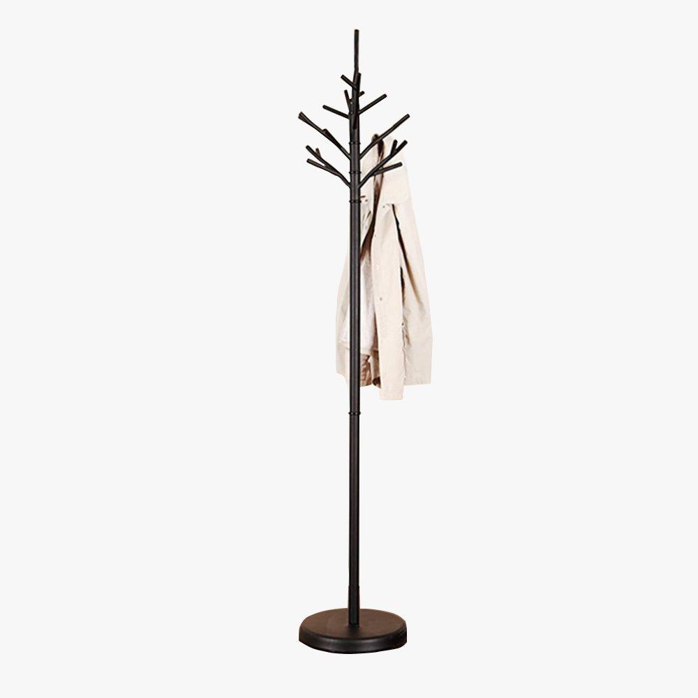 Black and white optional / iron coat rack / floor bedroom hanging hanger / European simple clothes rack / simple iron wood floor hangers (320 1790mm) ( Color : Black )