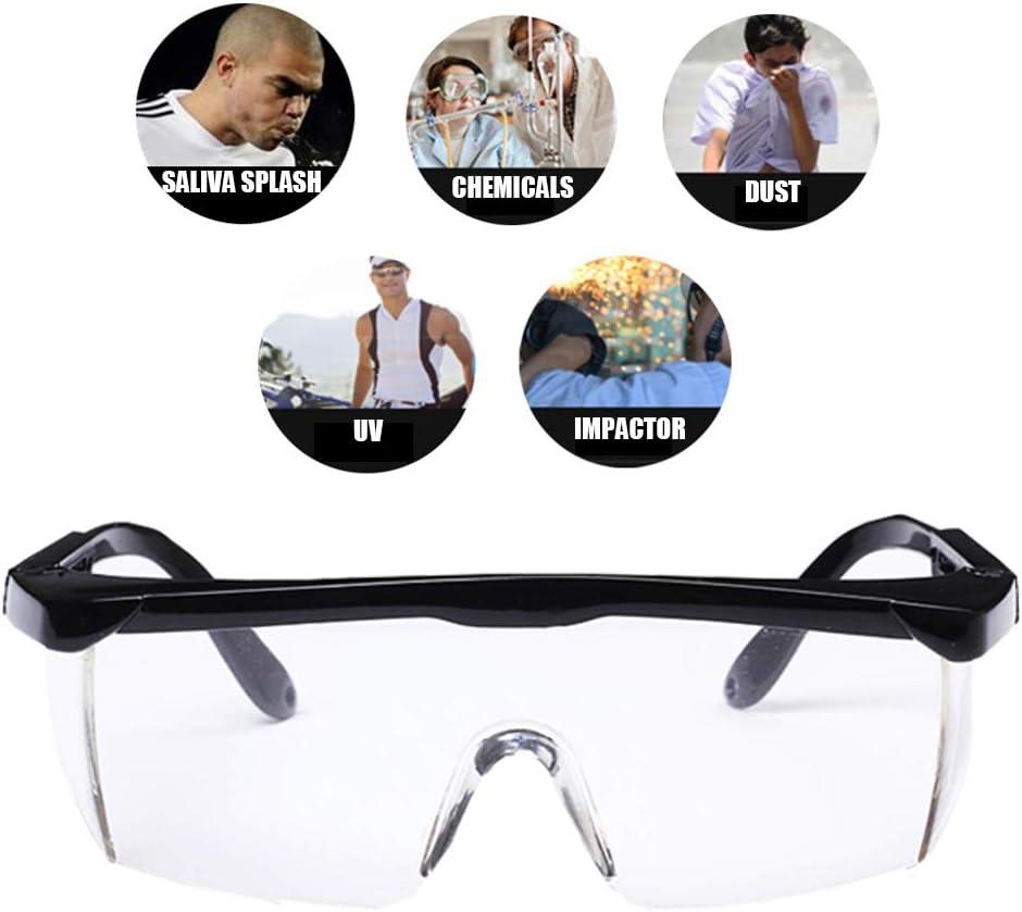 POEO Gafas de Seguridad con Función de Recubrimiento Anti-Salpicaduras, Antiarañazos, PC, Antiniebla, Longitud de la Sien Ajustable, Adecuado para la Industria