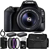 Canon EOS 200D / SL2 Camera EF-S 18-55mm F3.5-5.6 III Lens 11PC Accessory Bundle – Includes 32GB SD Memory Card + 2X Replacement Batteries + More (Certified Refurbished)