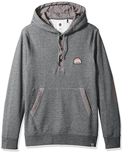 Element Men's Highland Henley Fleece Hoody, Grey Heather, XL